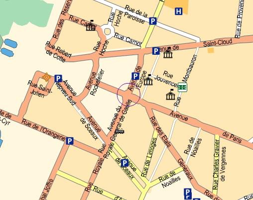 Karten der region von versailles